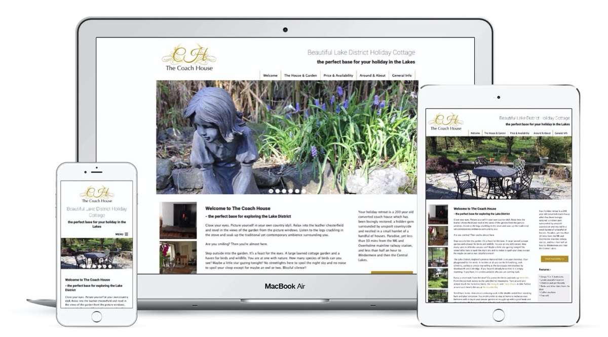 Pineapplelily Web design for holiday cottages, hotels, guest houses and other holiday lets in the Lake District Cumbria